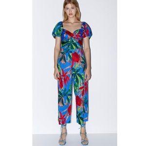 {Zara} Floral Print Jumpsuit